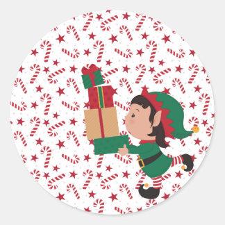 Adesivo Redondo Presentes do duende e bastões de doces de