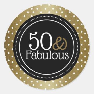 Adesivo Redondo Preto à moda e ouro 50 e fabuloso