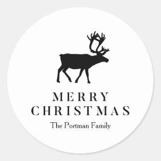 Adesivo Redondo Preto e branco adicione a rena conhecida do Natal