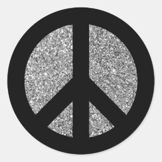 Adesivo Redondo Preto e símbolo de paz da foto do brilho da prata