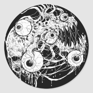 Adesivo Redondo Preto Inkwork do horror do globo ocular