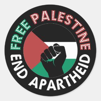 Adesivo Redondo Preto livre do punho da bandeira do Apartheid do