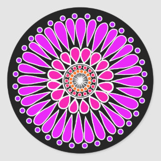 Adesivo Redondo Preto - mandala dobro cor-de-rosa do girassol