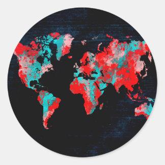 Adesivo Redondo preto vermelho do mapa do mundo