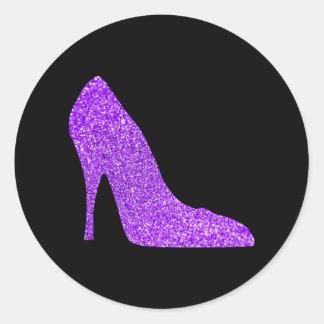Adesivo Redondo Preto violeta feminino do salto alto do brilho