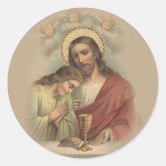 Adesivo Redondo Primeira relembrança católica do comunhão