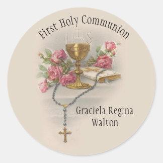 Adesivo Redondo Primeira relembrança do católico do comunhão