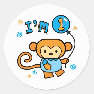 Adesivo Redondo Primeiro aniversario do macaco de Lil