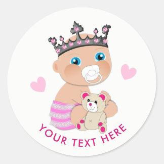Adesivo Redondo Princesa bonito Rega Personalized do bebê dos