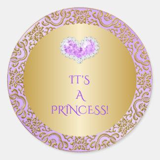 Adesivo Redondo Princesa real Lilac & gema do coração do diamante