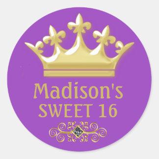 Adesivo Redondo Príncipes personalizados Coroa do ouro no doce