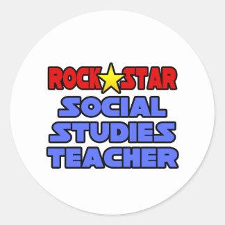 Adesivo Redondo Professor dos estudos sociais da estrela do rock