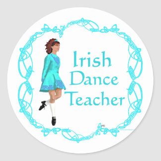 Adesivo Redondo Professor irlandês da dança da etapa - turquesa