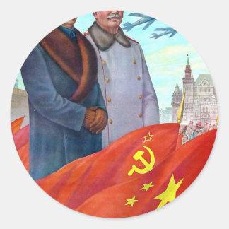 Adesivo Redondo Propaganda original Mao Zedong e Josef Stalin
