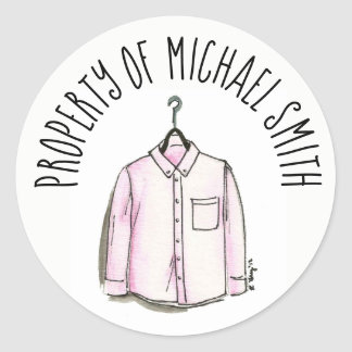 Adesivo Redondo Propriedade da forma à moda da camisa dos homens