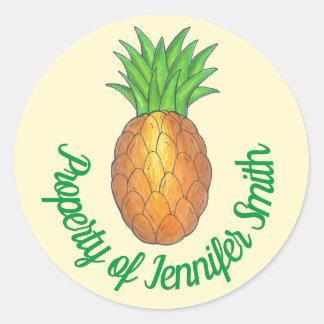 Adesivo Redondo PROPRIEDADE da fruta tropical personalizada do
