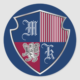 Adesivo Redondo Protetor do leão da prata do emblema do monograma