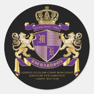 Adesivo Redondo Protetor dourado do leão do emblema do monograma