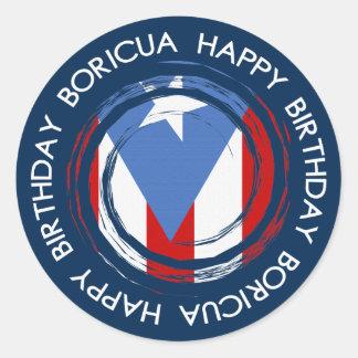 Adesivo Redondo Puerto Rico: Tema da bandeira: Aniversário Boricua
