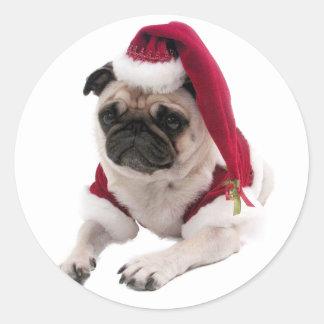 Adesivo Redondo Pug do Natal - cão de Papai Noel - persiga claus
