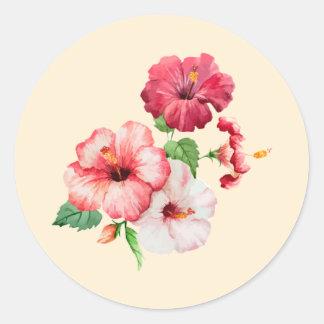 Adesivo Redondo Pulverizador retro do hibiscus no creme