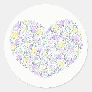 Adesivo Redondo Purple Heart floral com lavanda floresce o