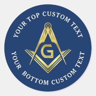 Adesivo Redondo Quadrado & compasso maçónicos do ouro do marinho