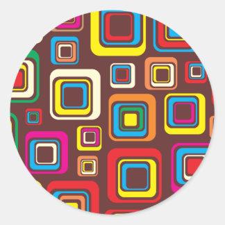 Adesivo Redondo Quadrados Groovy do teste padrão do azulejo 70s em