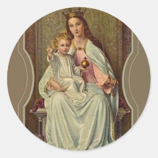 Adesivo Redondo Rainha coroada do céu Jesus infantil que guardara