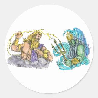 Adesivo Redondo Raio de Zeus contra o tatuagem de Poseidon Trident