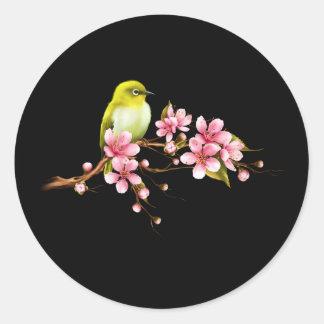Adesivo Redondo Ramo amarelo da flor de cerejeira do pássaro