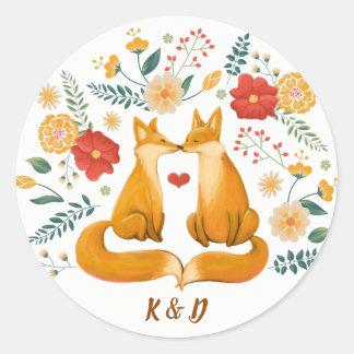 Adesivo Redondo Raposas românticas e casamento floral rústico da