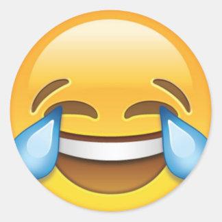Adesivo Redondo Rasgos de grito de riso do emoji da alegria