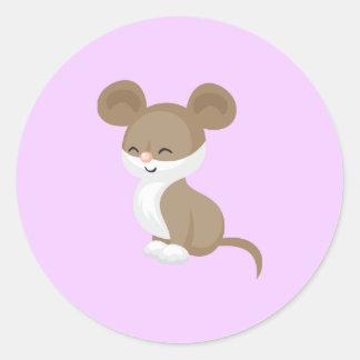 Adesivo Redondo Rato bonito dos desenhos animados