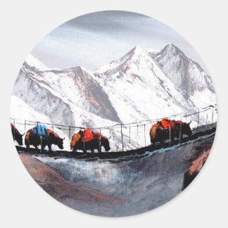 Adesivo Redondo Rebanho de iaques Himalaya da montanha