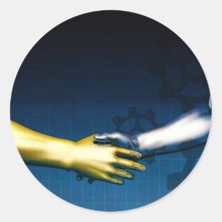 Adesivo Redondo Rede da integração do negócio com as mãos que