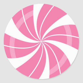 Adesivo Redondo Redemoinho cor-de-rosa e branco dos doces, doces