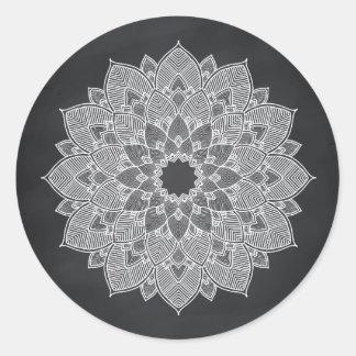 Adesivo Redondo Redemoinho da flor de Lotus da mandala do quadro