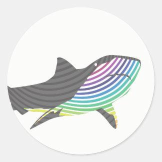 Adesivo Redondo Redemoinho do tubarão da cor