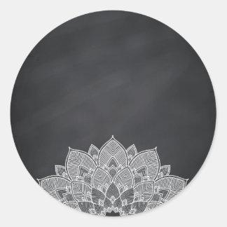 Adesivo Redondo Redemoinho vazio da flor de Lotus da mandala do