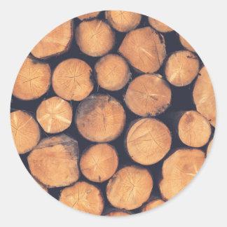 Adesivo Redondo Registros de madeira