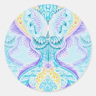 Adesivo Redondo Renascimento, idade nova, meditação, boho, hippie