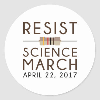 Adesivo Redondo Resista a ciência março