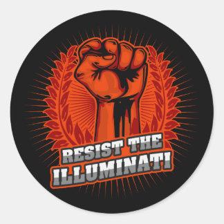 Adesivo Redondo Resista o punho aumentado laranja de Illuminati