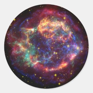 Adesivo Redondo Resto do Supernova da galáxia do Cassiopeia
