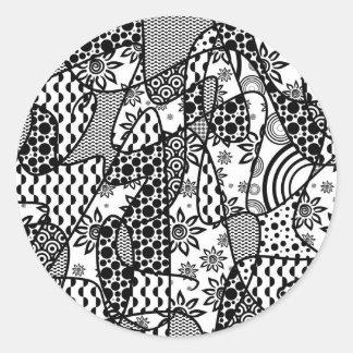 Adesivo Redondo Retalhos pretos & brancos 03 do teste padrão