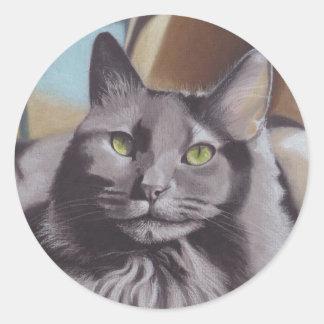 Adesivo Redondo Retrato cinzento do animal de estimação do gato