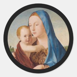 Adesivo Redondo Retrato de Mary que guardara o bebê Jesus