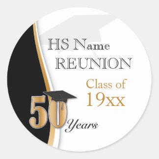 Adesivo Redondo Reunião de classe de 50 anos no ouro e no preto