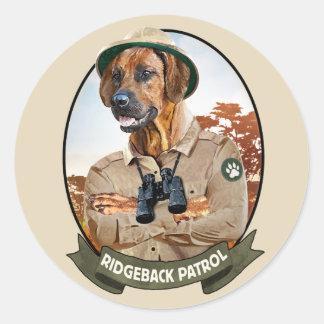 """Adesivo Redondo Ridgeback bordador - """"Ridgeback Patrol """""""